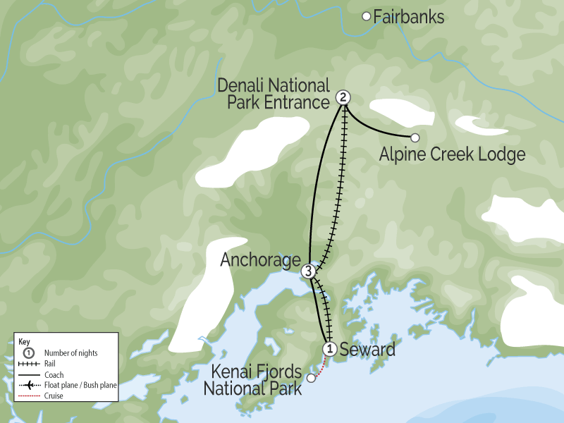 Alaska by Train Glaciers, Fjords & Denali map