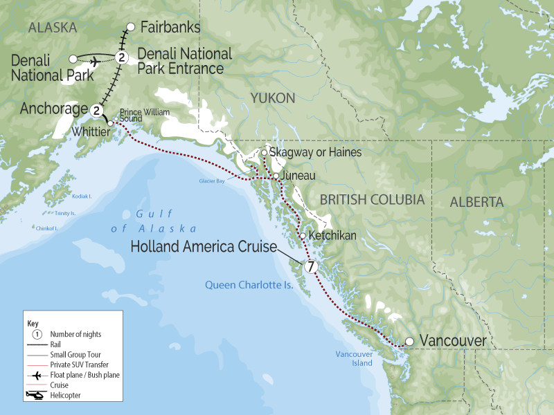 Alaska Cruise and Land Tour | Anchorage Denali Explorer map