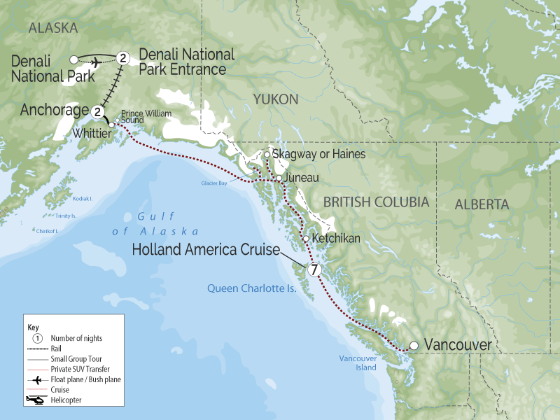 Alaska Cruise and Land Tour | Anchorage Denali Highlights map