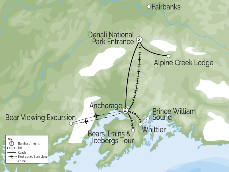 Alaska Denali Train with Icebergs and Bears map