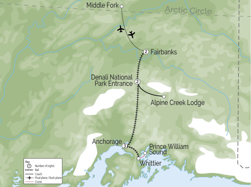Alaska Land Tour with Denali Glaciers and the Arctic map