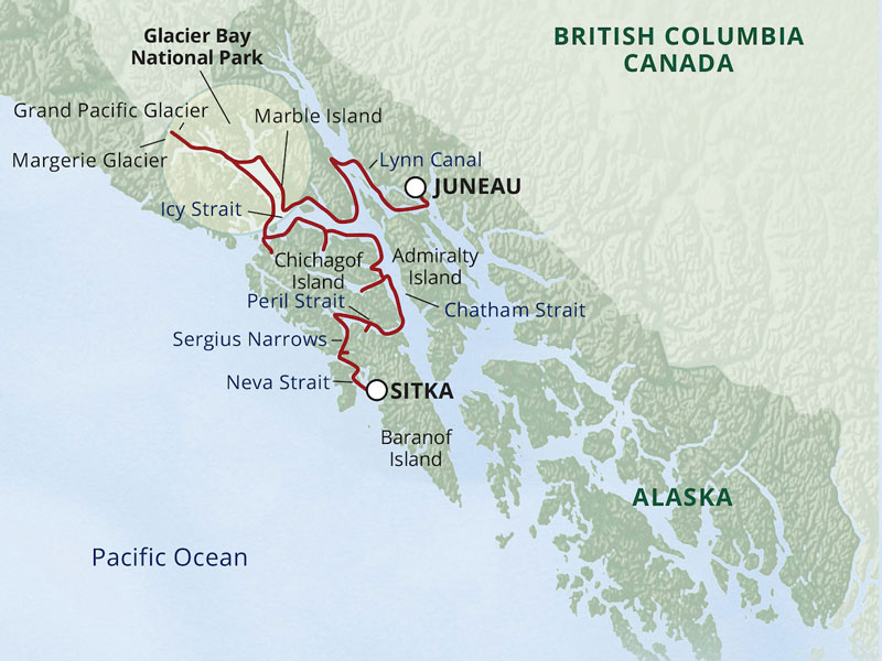 Small Ship Cruises Alaska | Northern Passage & Glacier Bay map