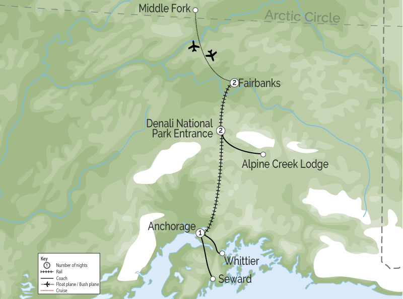 Alaska Train Vacation with the Arctic Cruise Connector map