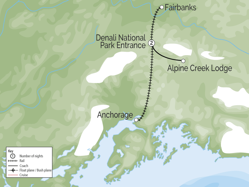 Denali Alaska Railroad Highlights map