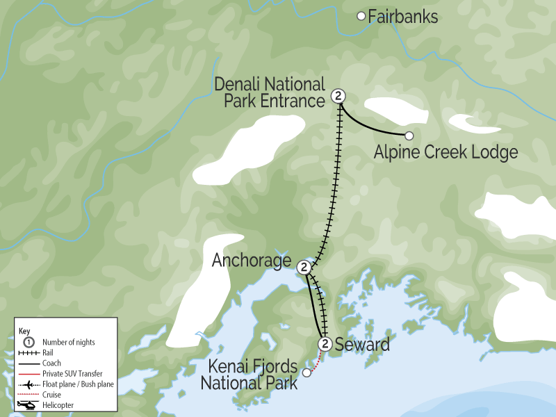 Denali Kenai Alaska Train Explorer Tour map