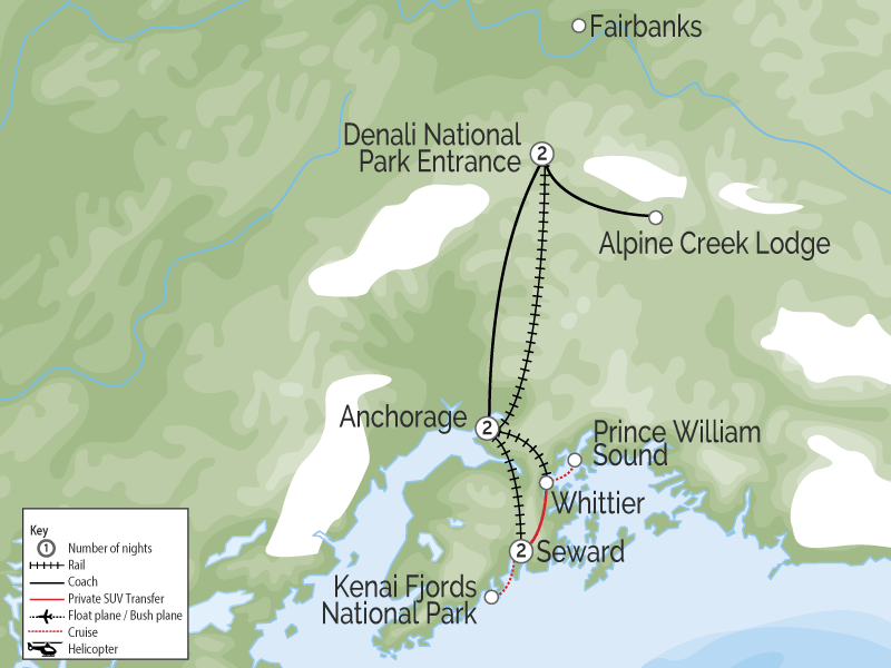 Glaciers, Fjords Denali & Alaska Train Vacation map