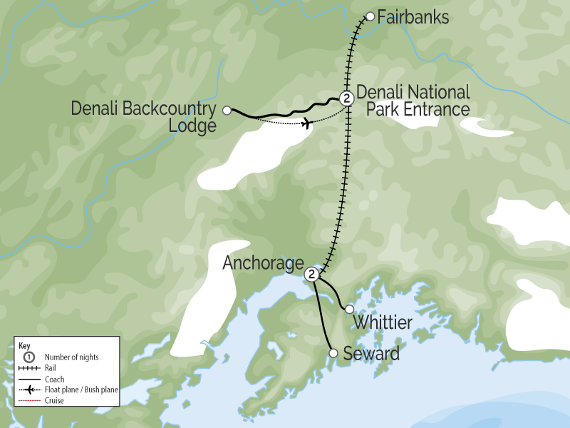 Grand Alaska Rail Tour Cruise Connector map