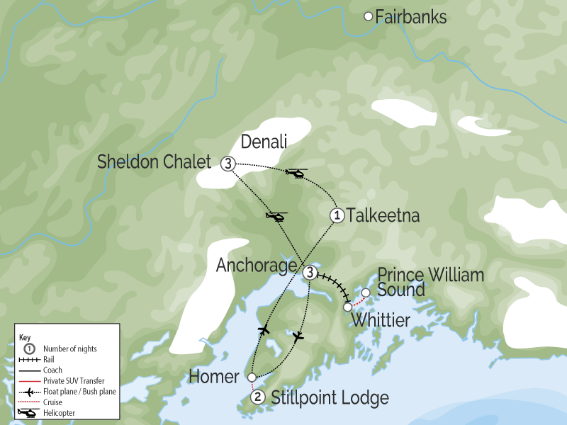 Luxury Lodges of Alaska Adventure Package map