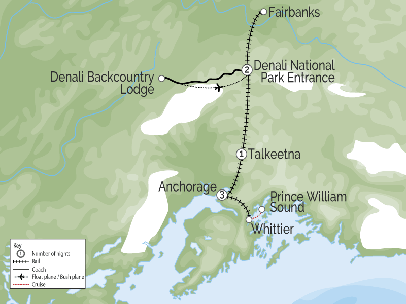 Prince William Sound Denali Explorer Alaska Favourites by Rail map