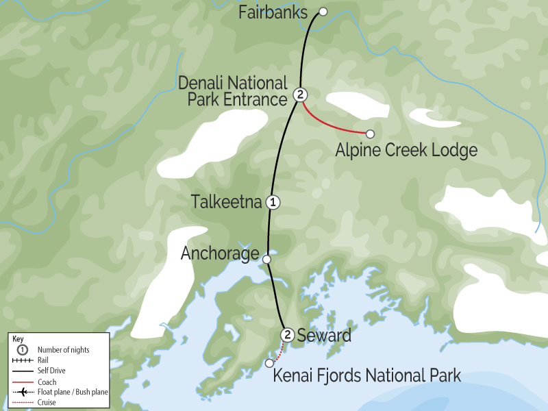 Self Drive Highlights Alaska's Denali and Kenai Fjords map