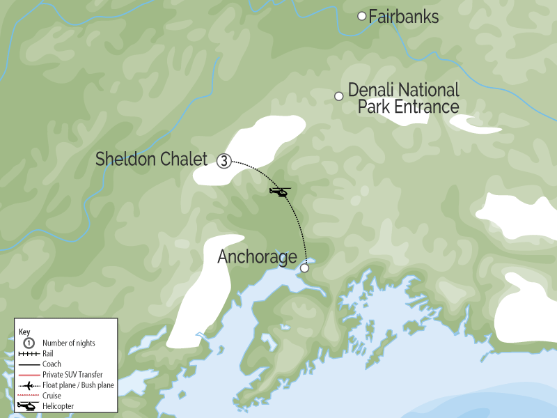 Sheldon Chalet Denali | Alaska Luxury Wilderness Lodge map