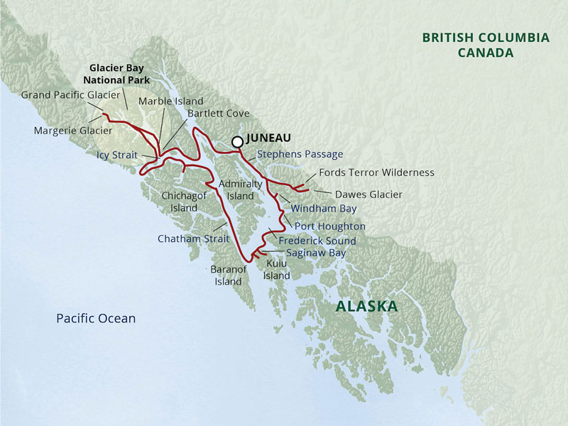 Small Ship Cruises Alaska | Alaska's Glacier Country map