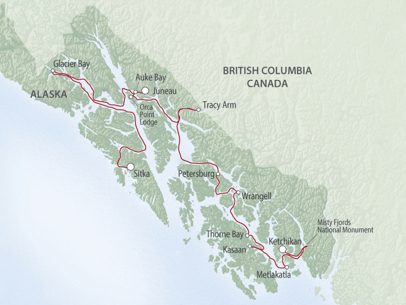 Small Ship Cruises Alaska | Alaska's Inside Passage Sojourn map