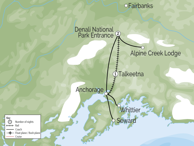 Talkeetna Denali Alaska Rail Explorer | Cruise Connector map