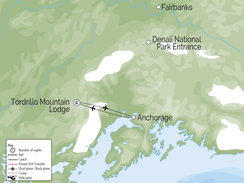 Tordrillo Mountain Lodge | Alaska Luxury Wilderness Lodge map